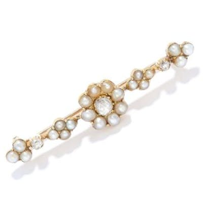 ANTIQUE DIAMOND AND PEARL BROOCH in yellow gold, set with old and