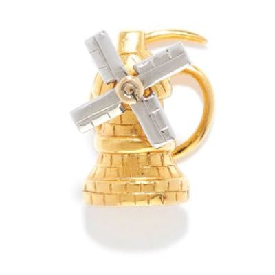 ARTICULATED WINDMILL PIN in yellow gold, depicting a windmill with