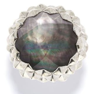 MOTHER OF PEARL AND SMOKEY QUARTZ DRESS RING, STEPHEN WEBSTER in sterling