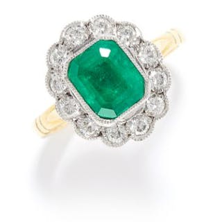 1.56 CARAT EMERALD AND DIAMOND CLUSTER RING in 18ct yellow gold, set