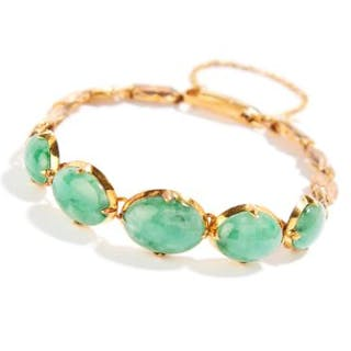 JADEITE JADE BRACELET in yellow gold, set with five cabochon jadeite