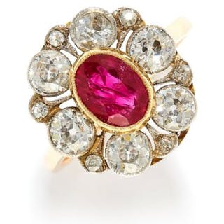 1.40 CARAT BURMA NO HEAT RUBY AND DIAMOND CLUSTER RING in high carat