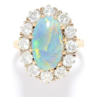 OPAL AND DIAMOND CLUSTER RING in high carat yellow and white gold