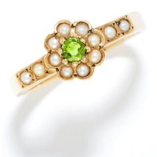 ANTIQUE DEMANTOID GARNET AND PEARL RING in high carat yellow gold