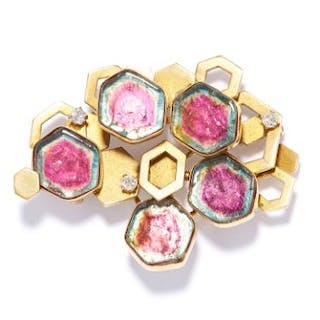 WATERMELON TOURMALINE AND DIAMOND BROOCH, HORACE GODMAN in 18ct yellow