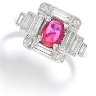 ART DECO BURMA NO HEAT RUBY AND DIAMOND RING in white gold or platinum