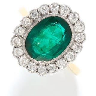 EMERALD AND DIAMOND CLUSTER RING in 18ct yellow gold, set with an