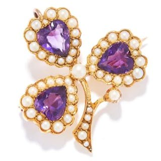 ANTIQUE AMETHYST AND SEED PEARL CLOVER BROOCH / PENDANT in 15ct yellow