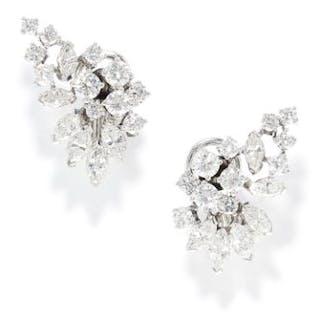 3.50 CARAT DIAMOND EARRINGS in 18ct white gold, in foliate motif set