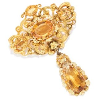 ANTIQUE CITRINE BROOCH, 19TH CENTURY in high carat yellow gold, set