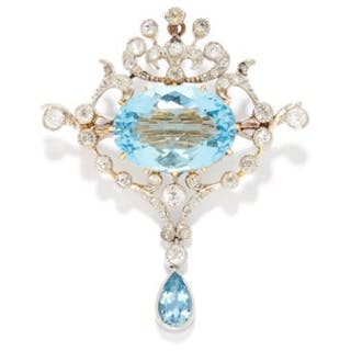 ANTIQUE 8.92 CARAT AQUAMARINE AND DIAMOND BROOCH in gold, comprising