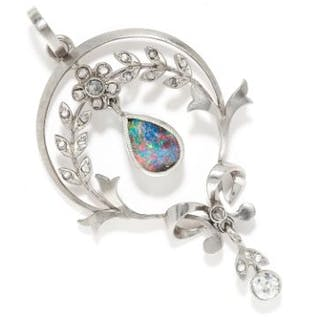 OPAL AND DIAMOND PENDANT in gold or platinum, in open foliate and