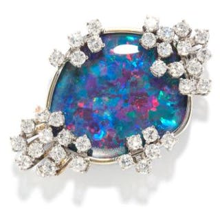 BLACK OPAL AND DIAMOND BROOCH in 14ct white gold, set with a black