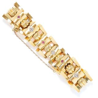 VINTAGE RUBY AND DIAMOND FANCY LINK BRACELET in 18ct yellow gold