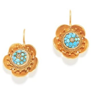 ANTIQUE TURQUOISE AND DIAMOND EARRINGS, 19TH CENTURY in high carat