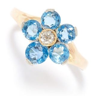 AQUAMARINE AND DIAMOND CLUSTER RING in high carat yellow gold, designed
