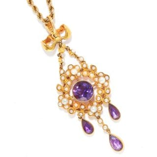 ANTIQUE AMETHYST AND PEARL PENDANT in 15ct and 9ct yellow gold, in