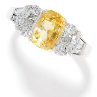3.06 CARAT YELLOW SAPPHIRE AND DIAMOND RING in 18ct white gold, set