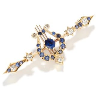 ANTIQUE SAPPHIRE AND DIAMOND BROOCH in 15ct carat yellow gold, the