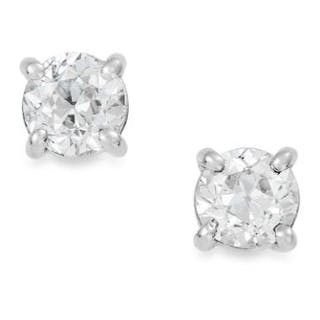 1.10 CARAT DIAMOND EAR STUDS each set with a round cut diamond totalling
