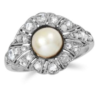 ANTIQUE PEARL AND DIAMOND DRESS RING in 18ct white gold or platinum