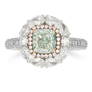 1.14 CARAT FANCY GREEN AND WHITE DIAMOND RING set with a cushion cut