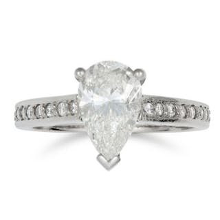 1.51 CARAT SOLITAIRE DIAMOND RING set with a pear cut diamond of 1.51