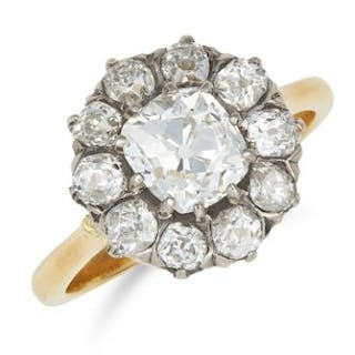 ANTIQUE 2.60 CARAT DIAMOND CLUSTER RING set with a central old cut