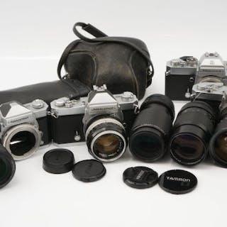 Four Nikon Nikkormat SLR Cameras