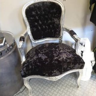 Carver Chair Black Velvet Effect Seat On A Baroque Style Silver Painted