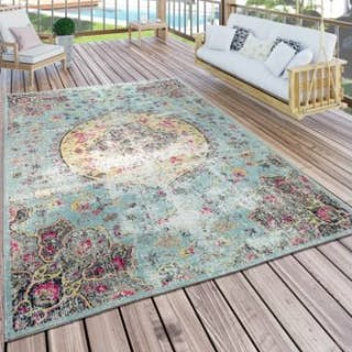 Oriental Turquoise RugThis Turquoise And Pink Rug Features Oriental-Style