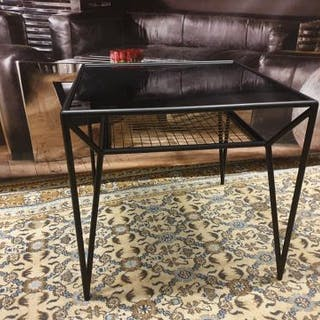 Ashkelly Side Table Black Metal Frame With Black Glass Top Brass Inlay