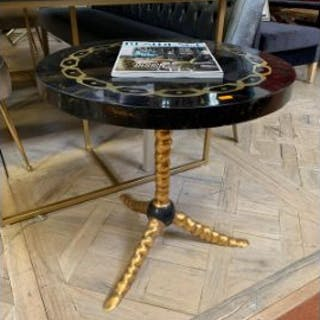 Venetian Side Table Is Structured In Cracked Yellow Tortoise Shell