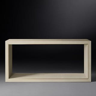 Cela White Shagreen Console Table Crafted Of Shagreen-Embossed Leather
