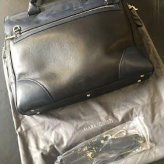 Mark Giusti Milano Full Nappa Leather Briefcase Black / Navy Combo