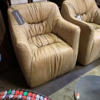 Tyrion Armchair Safari Nut Leather Compact In Size But Packed With
