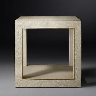 Cela White Shagreen Square Side Table Crafted Of Shagreen-Embossed