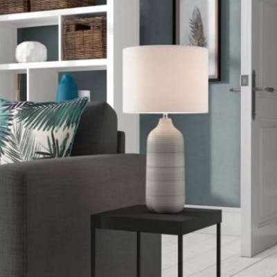 Rib 49.5cm Table Lamp Beautiful Soft Ombre Ceramic Lamp Colours Flow