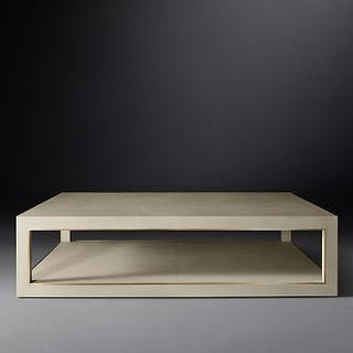 Cela White Shagreen Rectangular Coffee Table Crafted Of Shagreen-Embossed