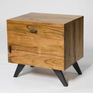 Natural 1 Drawer Bedside Table Single Door Solid Acacia Wood Bedside