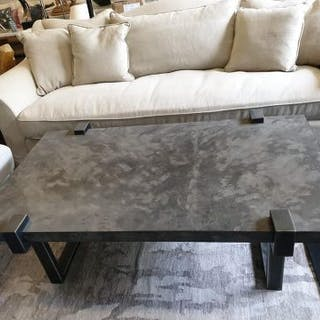 Garland Coffee Table Rectangle Charcoal Faux Vellum Coffee Table With