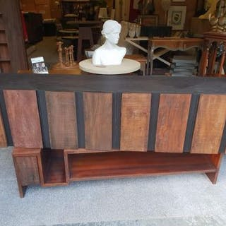 Oak Credenza Constructed In Peroba Wood And Black Oak With Steel Legs