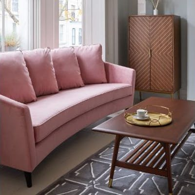 Monroe Three Seater Velvet Dusky Pink By Christiane Lemieux A Curved