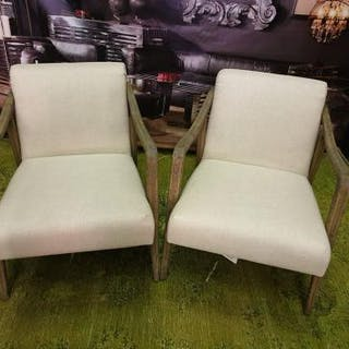 A Pair Of Alton Natural Ecru Linen Chairs The Alton Chair Is A Classic