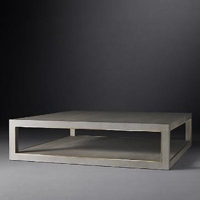 Cela Grey Shagreen Square Coffee Table Crafted Of Shagreen-Embossed