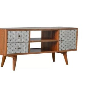 Nordic Solid Wood TV Stand Scandinavian Inspired TV Stand Screen Print