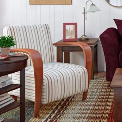 Striped Armchair Pairing Traditional Design With Rustic Pattern This