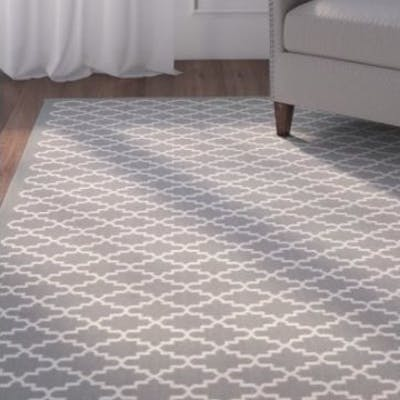 Anthracite/Beige Area Rug Sisal Weave Geometric Anthracite Area Rug 200 x 300cm