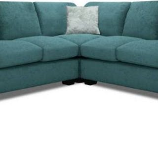 Knightsbridge Upholstered Teal Corner Sofa upholstered in soft textured