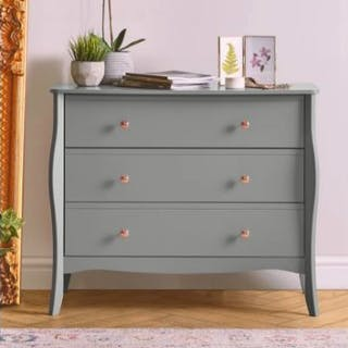 Danish 3 Drawer Chest With a cool grey finish, gentle framework contouring